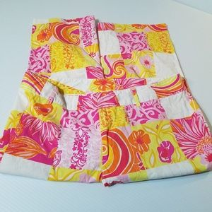 Lilly Pulitzer Pink Yellow Stretch Capris sz